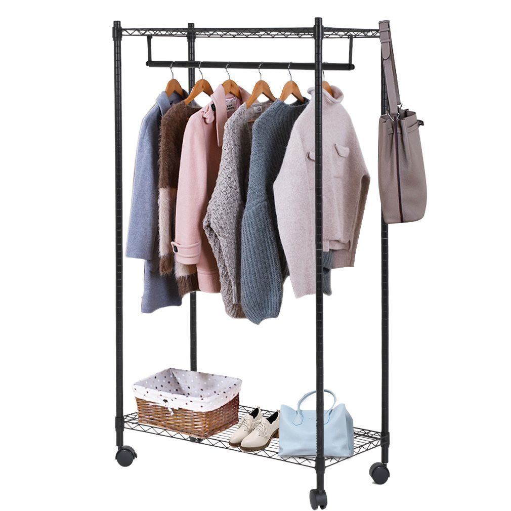 Heavy Duty Clothes Rack Hanging Rod Garment Rack With Wheels