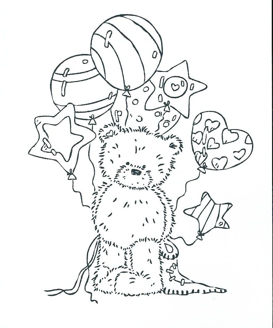 Teddy Bear w/ballons  Coloring pages, Coloring books, Digi stamps
