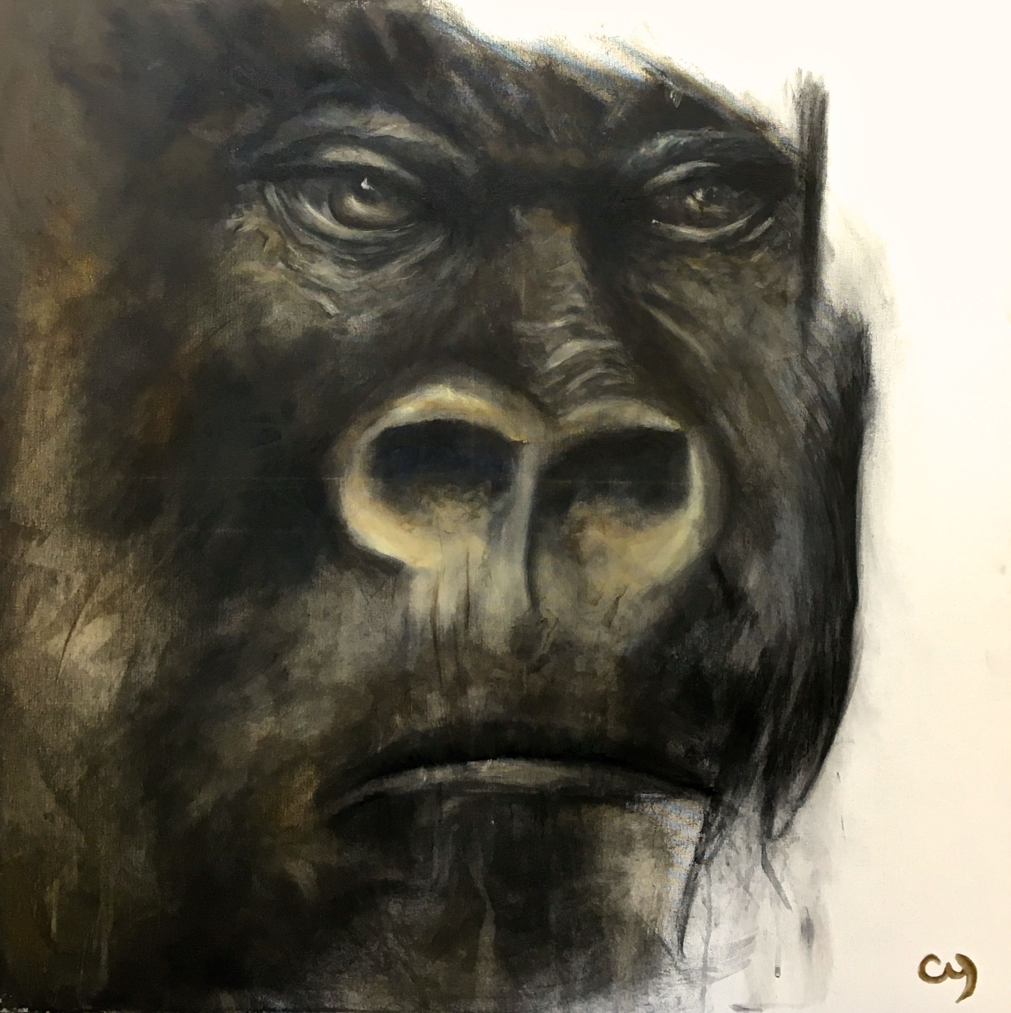 Bonobo par christyne proulx 2017 mixte sur canevas 36x36pcs figurative and contemporary art - Tableau art contemporain ...