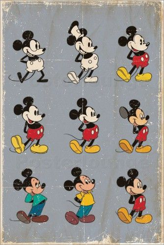 Wandbild von Mickey Mouse - Evolution | Kids: Jungenzimmer | Micky ...
