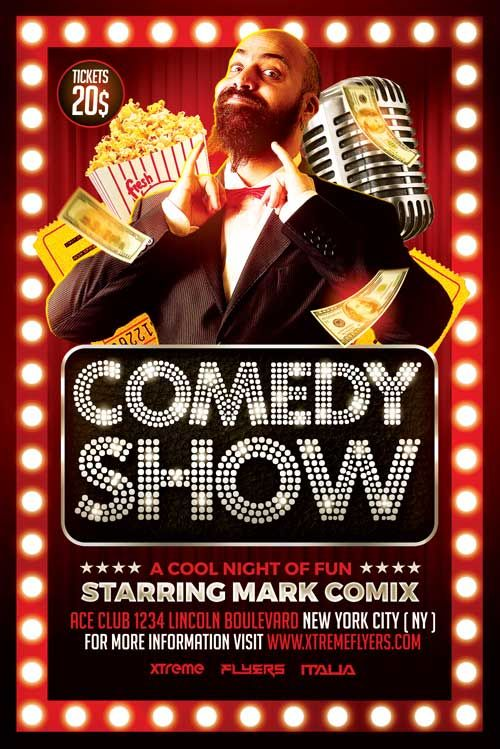 Comedy Show Flyer Template - http://xtremeflyers.com ...