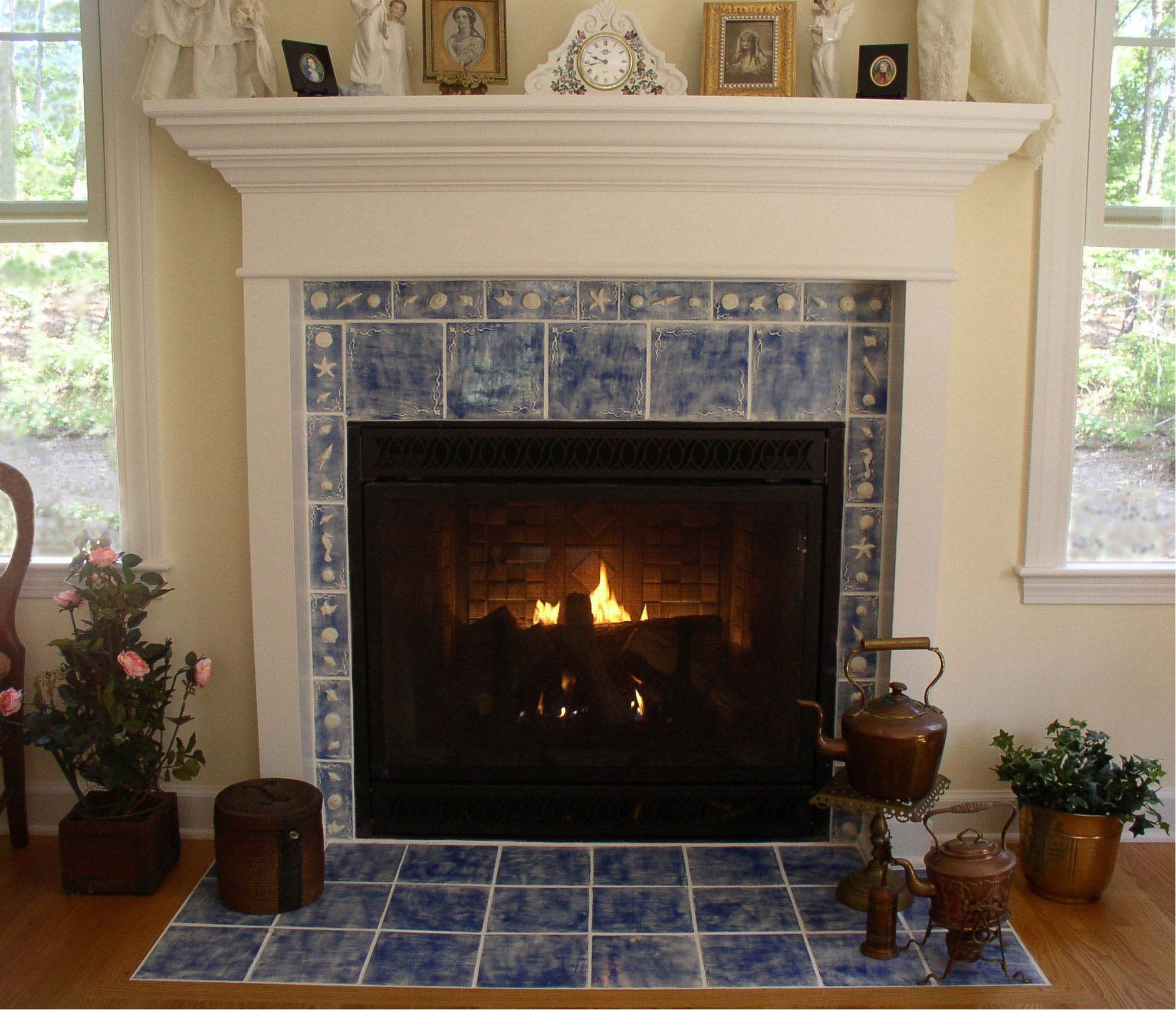 fireplace a from stacked wall stone electric thrifty for to diy tiles install on tile how