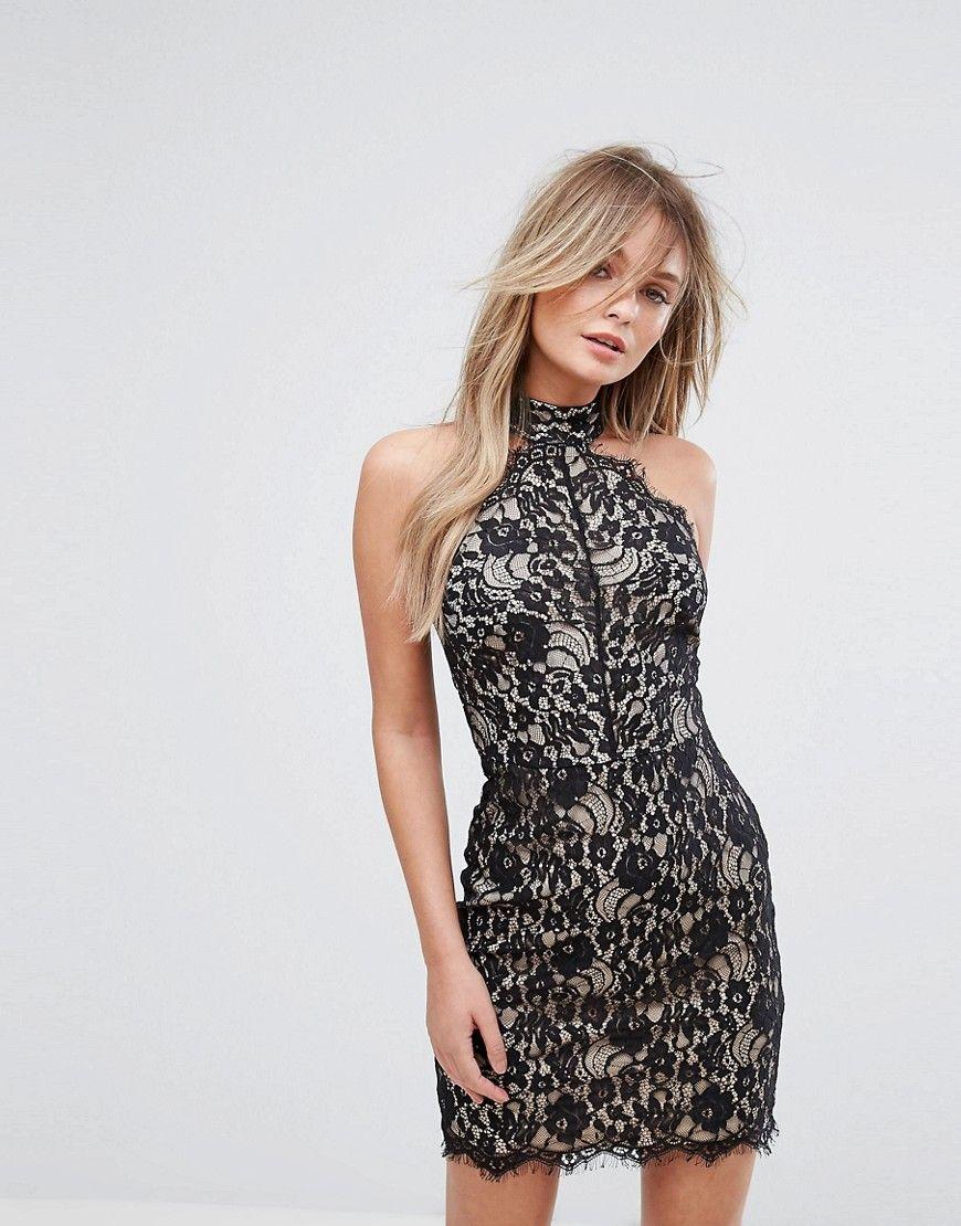 New Look - Figurbetontes Kleid mit Halsband aus Spitze - Schwarz ...