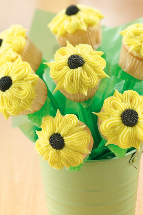 cupcake recipes for bridal shower%0A Sunflower Cupcakes Bouquet