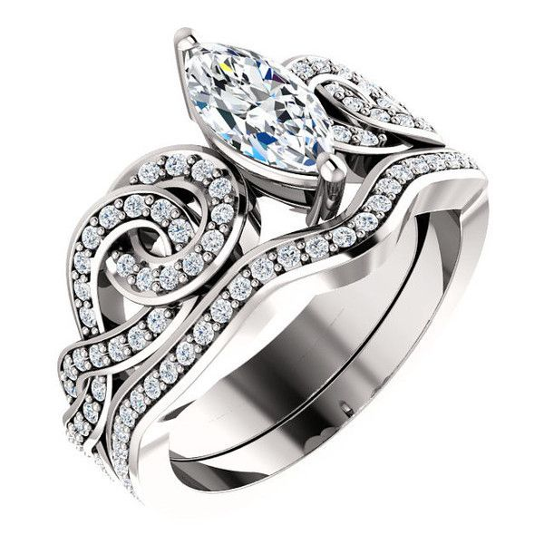 0.75 Ct Marquise Diamond Engagement Ring 14k White Gold (€1.855) ❤ liked on Polyvore featuring jewelry, rings, 14k ring, white gold diamond ring, clear diamond ring, clear crystal ring and diamond rings