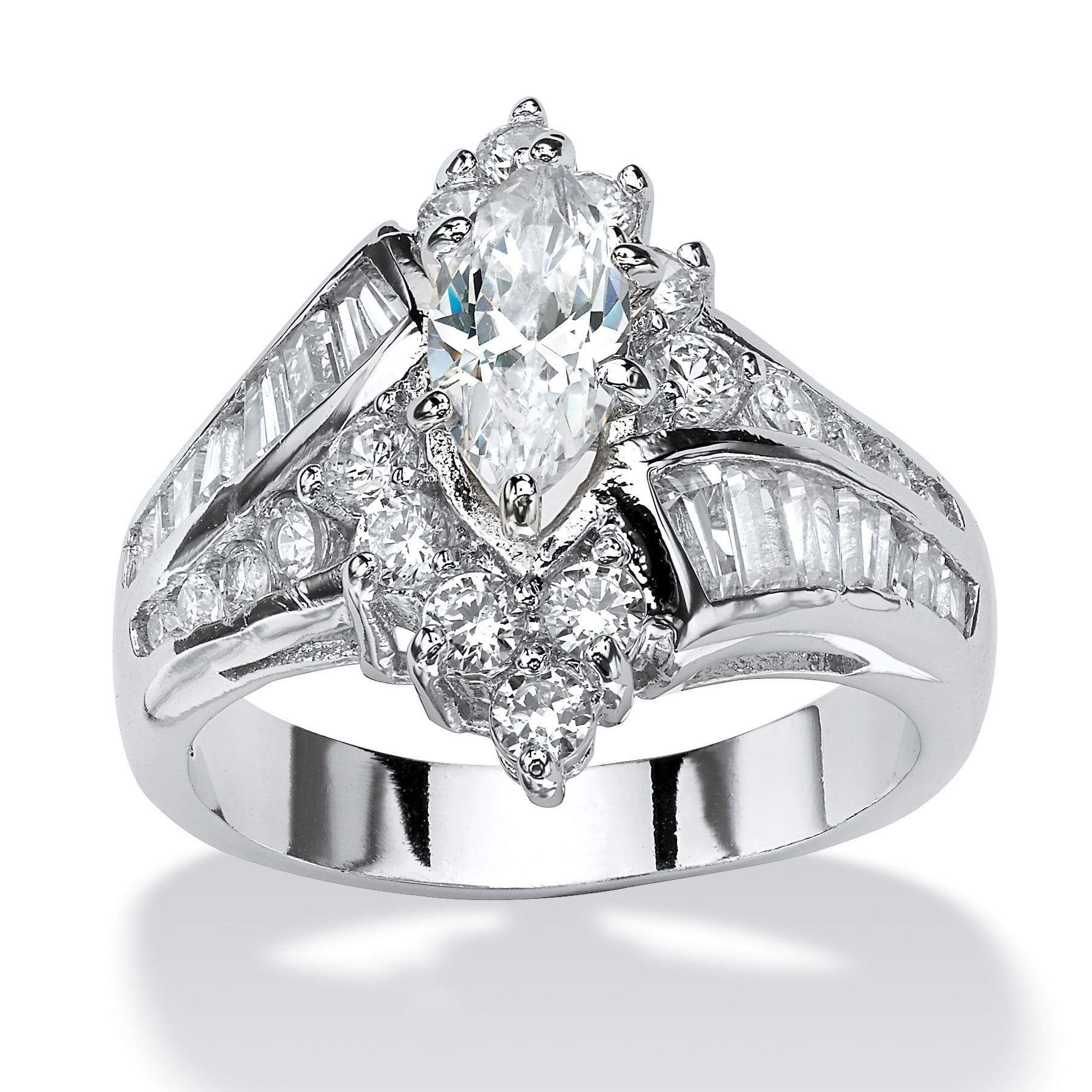 Platinumplated Cubic Zirconia Engagement Ring White