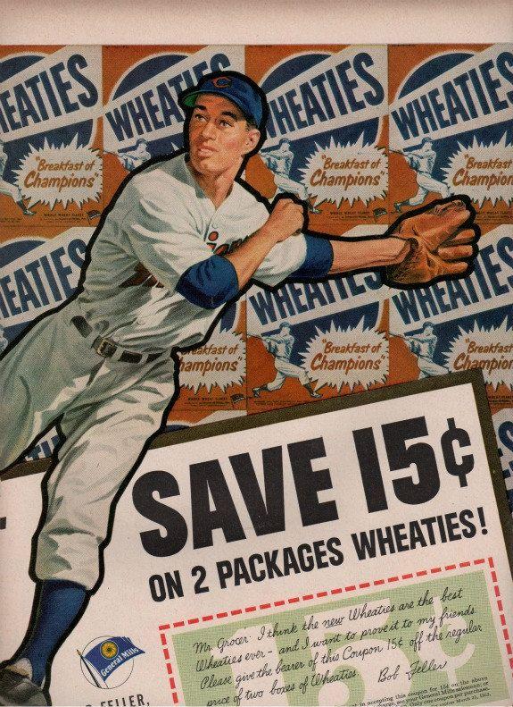 vintage baseball star bob feller 1952 advertisement