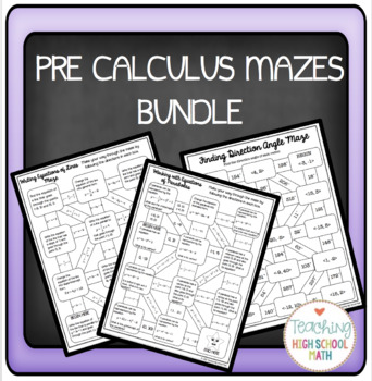 PreCalculus Bundle of Mazes | To look at later | Precalculus, Math