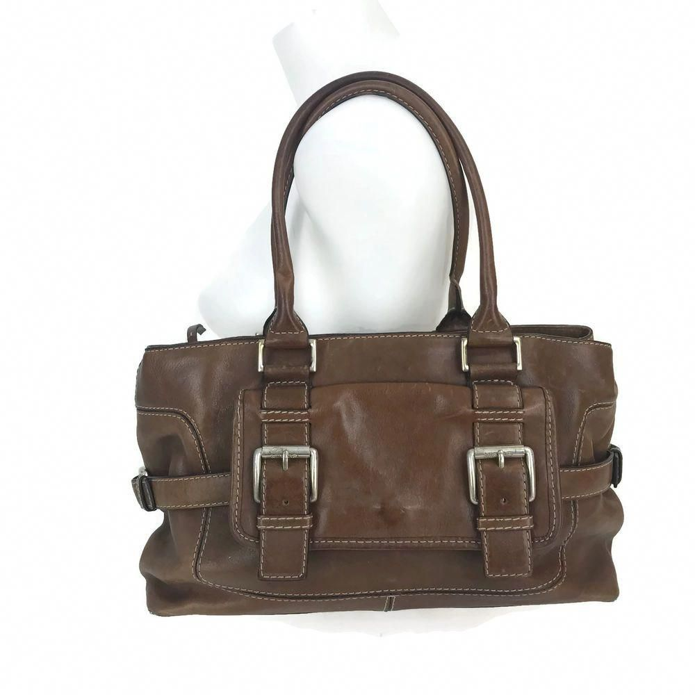 939446ec8f Michael Kors Brown Leather Decorative Buckle Handbag Satchel Purse Tote 14