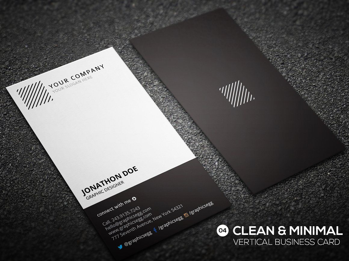 Clean minimal vertical business card | Vertical business cards ...