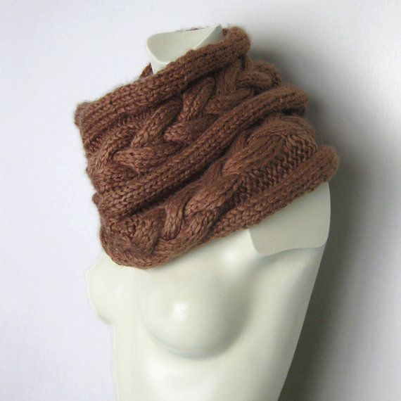 Hand Knitted Cable Texture Chunky Scarf Infinity by avivaschwarz, $64.00