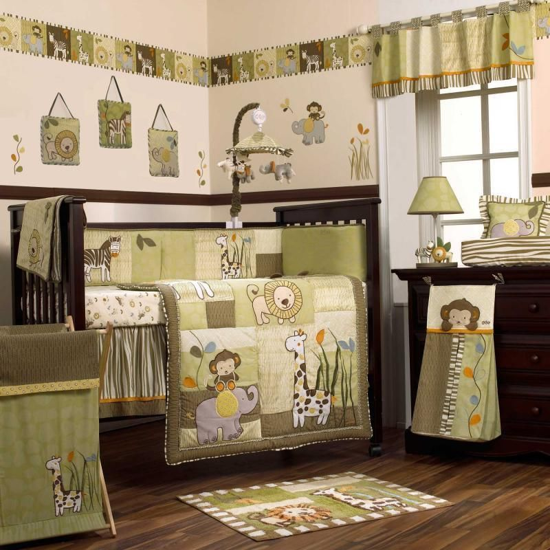 Safari jungle animals green and brown nursery 8pc baby boy for Cuartos para ninas decorados