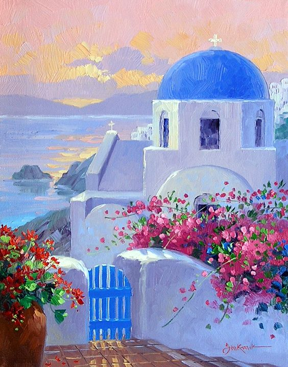 Let S Go To Greece Greece Art Greece Painting Greece Drawing