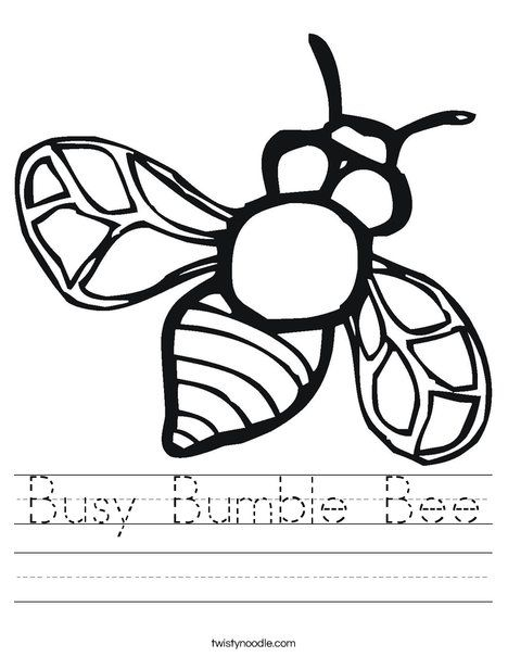 Busy Bumble Bee Worksheet Twisty Noodle Bee Coloring Pages
