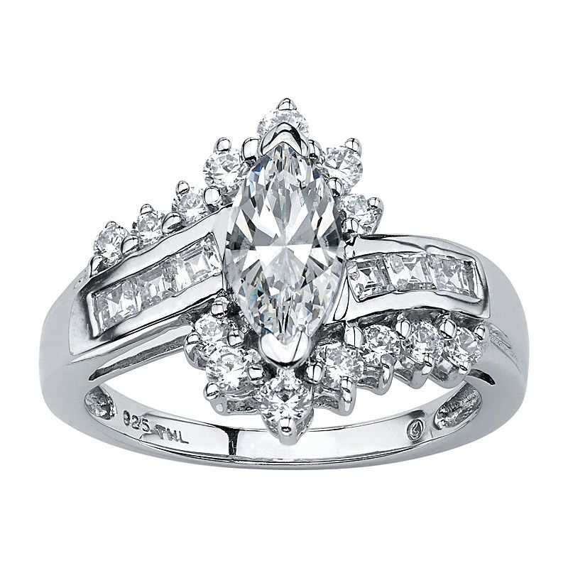 Diamonart Womens 1 5 8 Ct T W White Cubic Zirconia Platinum Over Silver Engagement Ring Silver Engagement Rings Promise Rings For Her Beautiful Engagement Rings