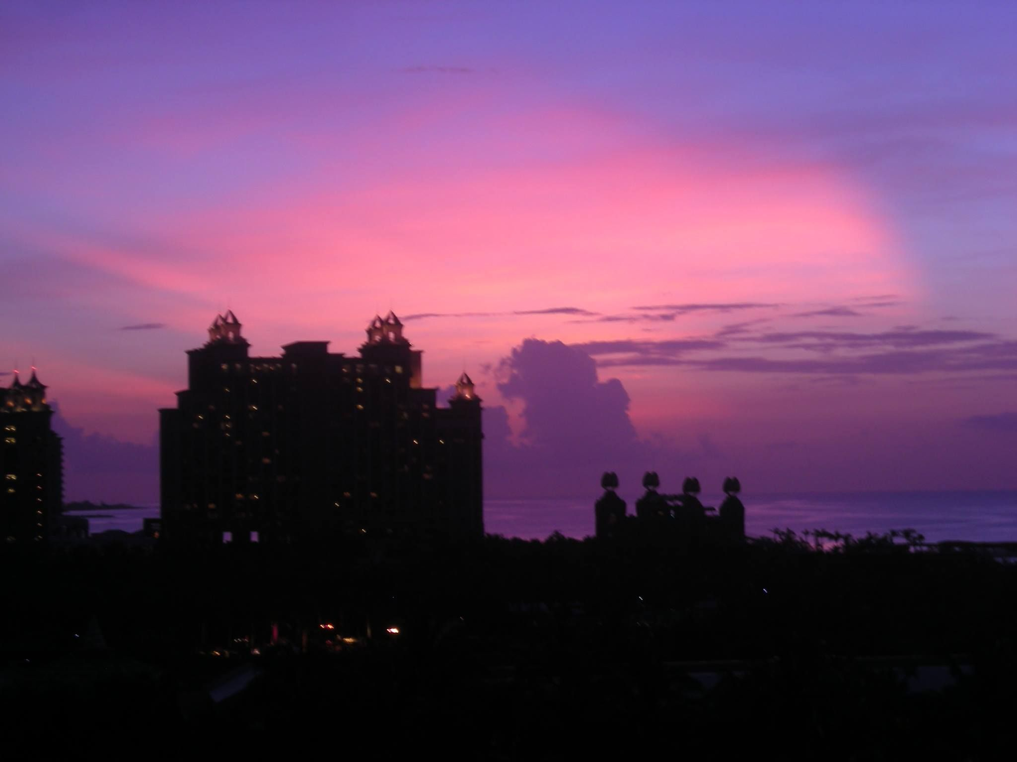 Beautiful pink & purple sunset over Atlantis Resort in Nassau Paradise Island, The Bahamas