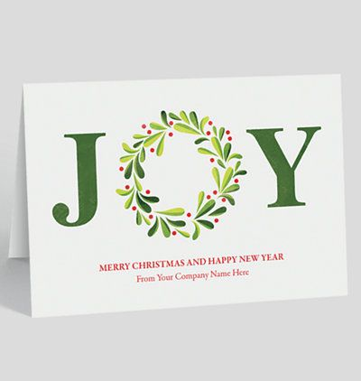 Joy wreath holiday card giving me ideas cards volume xvi get high quality business christmas cards that make your business stand out now offering low discounted prices on these original corporate christmas cards reheart Images