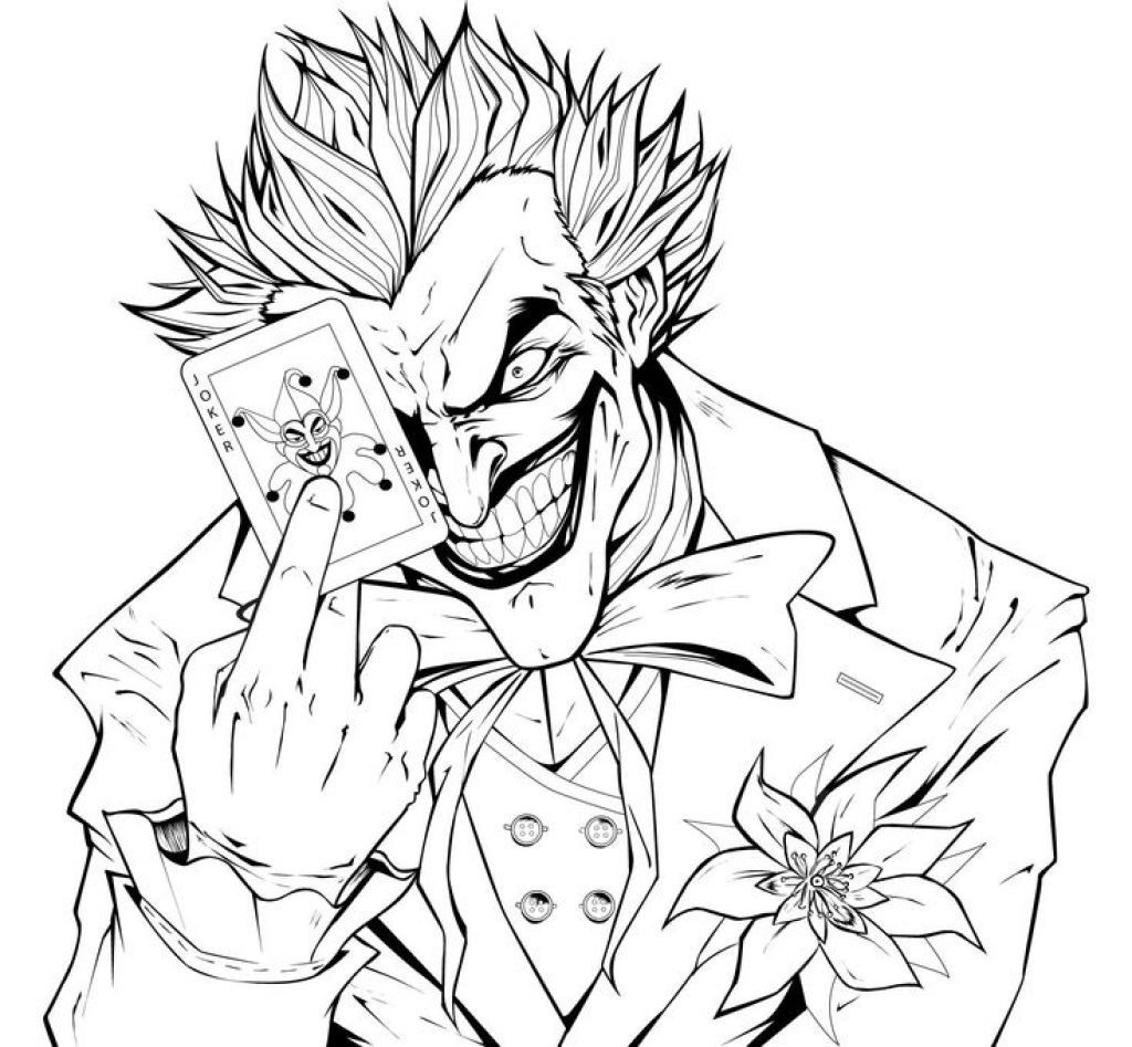 Online Printable Coloring Page Of Joker The Super Villain