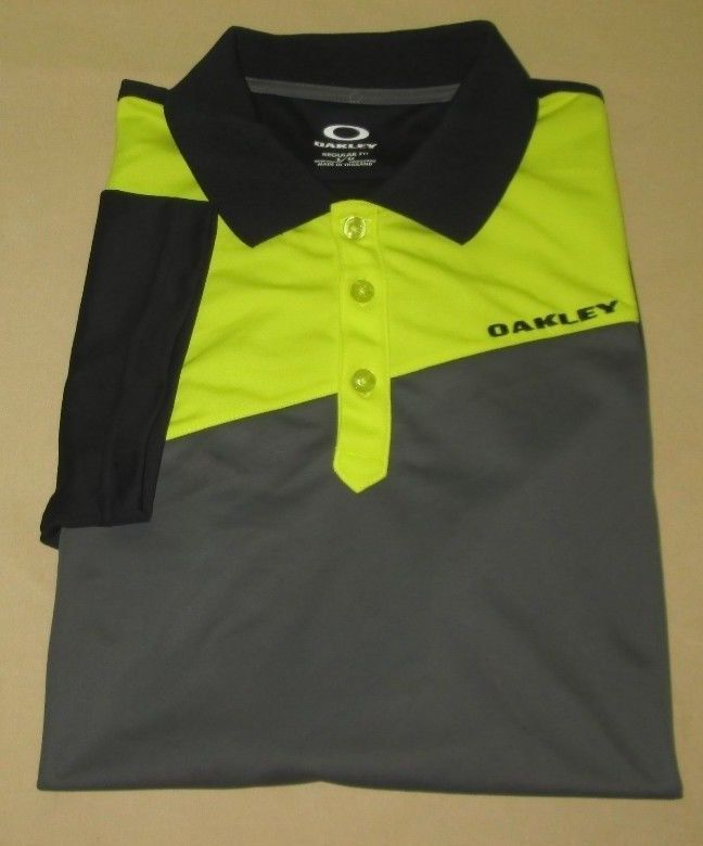 be4fc167a Men's OAKLEY Golf Shirt Sz L Large - Black Yellow #Oakley #PoloRugby