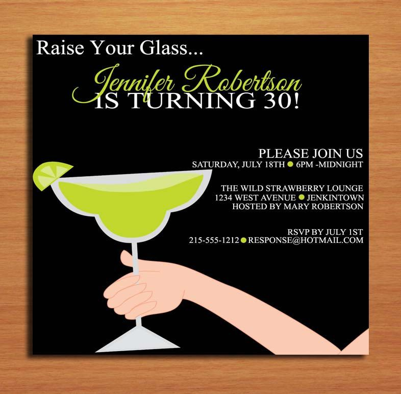Raise Your Glass Lime Margarita 30th Birthday Customized