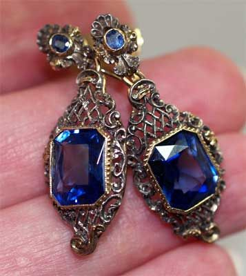 Silver and gold filigree earrings with blue glass stones, Austro-Hungarian, c. 1920.