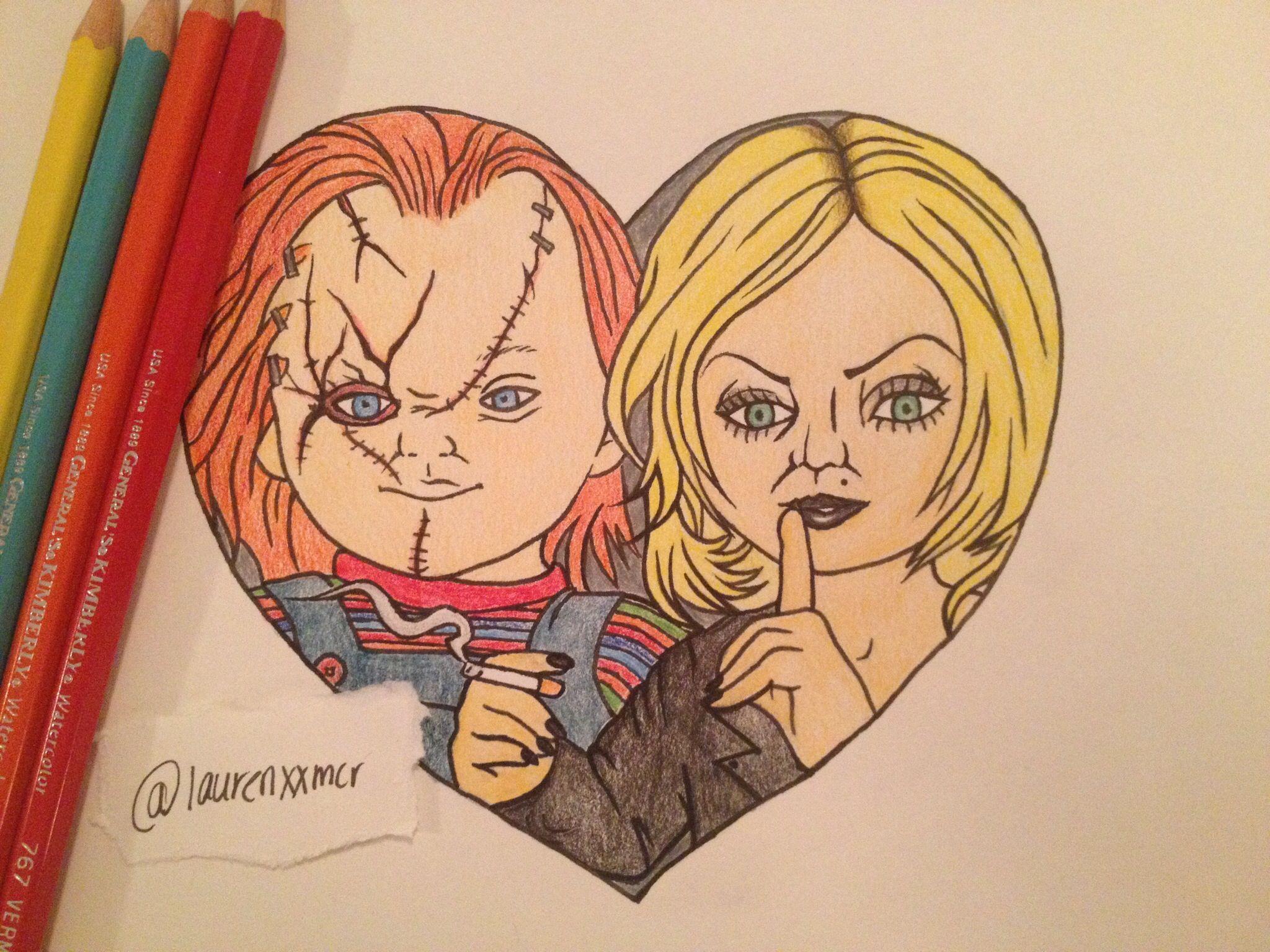 Chucky And Tiffany Art Colored Pencil Tiffany Art Horror Fanatic Art