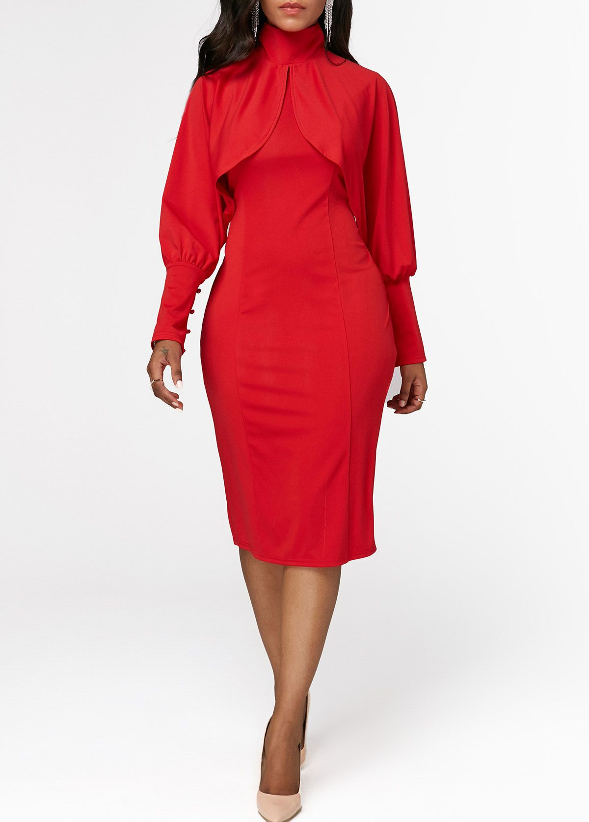Gelbe halbe badezimmerideen back slit long sleeve red sheath dress in   kleider  pinterest