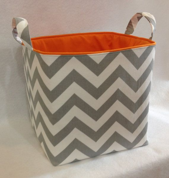 Items Similar To Fabric Toy Bin, Storage Bin, Laundry Basket, Grey/White  Chevron With Orange Lining On Etsy