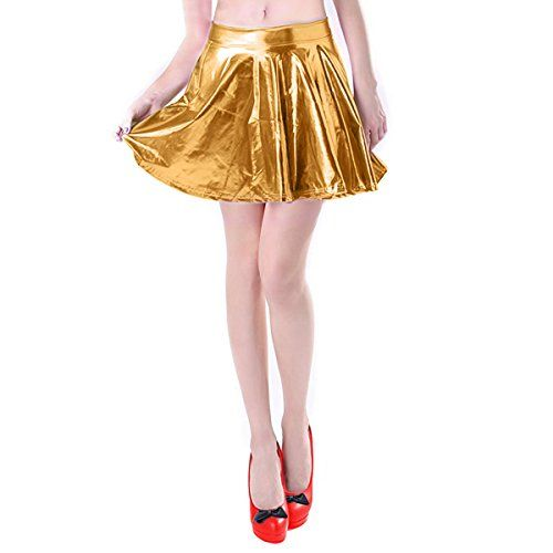 Wet Look Skirt Skater Short Pleated Dance Ladies Shiny Mini Metallic Cocktail