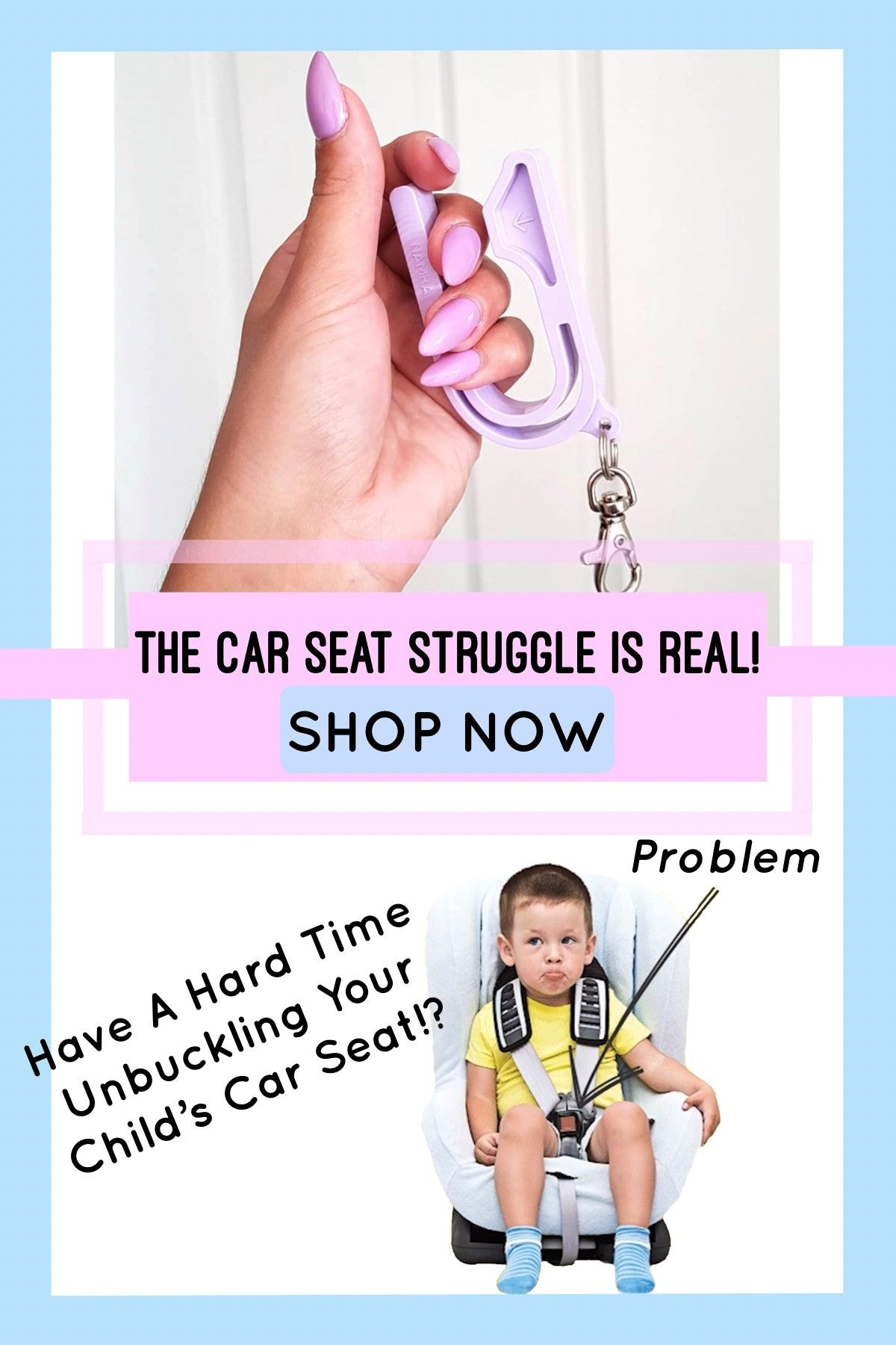 The Car Seat Key Is A Small Device That Slides Over Red Button On Childs And With Slight Pressure Releases Harness
