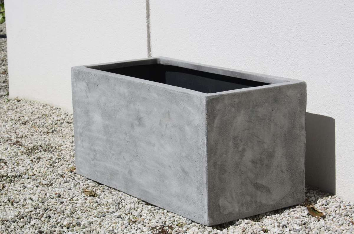 Pflanzkubel Pflanztrog Fiberglas Maxi Beton Design Grau In