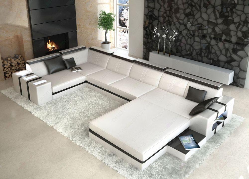Designer Wohnlandschaft Asti U Form Weiss Schwarz Ledersofa Mobel Wohnen Mobel Sofas Sessel With Images Corner Sofa Design Sofa Design Leather Corner Sofa