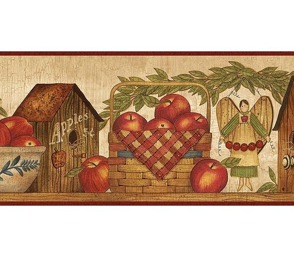 Burgundy Apple Season Wallpaper Border Rustic Country