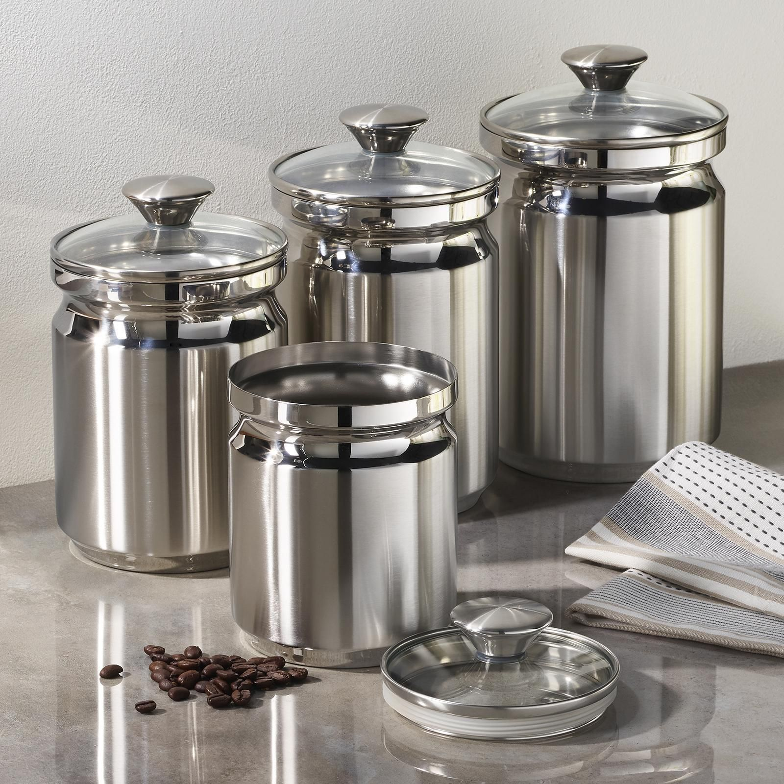 Tramontina Gourmet 4 Piece Covered Canister Set In 2021 Stainless Steel Canister Set Stainless Steel Canisters Glass Kitchen Canisters Stainless steel kitchen canister sets