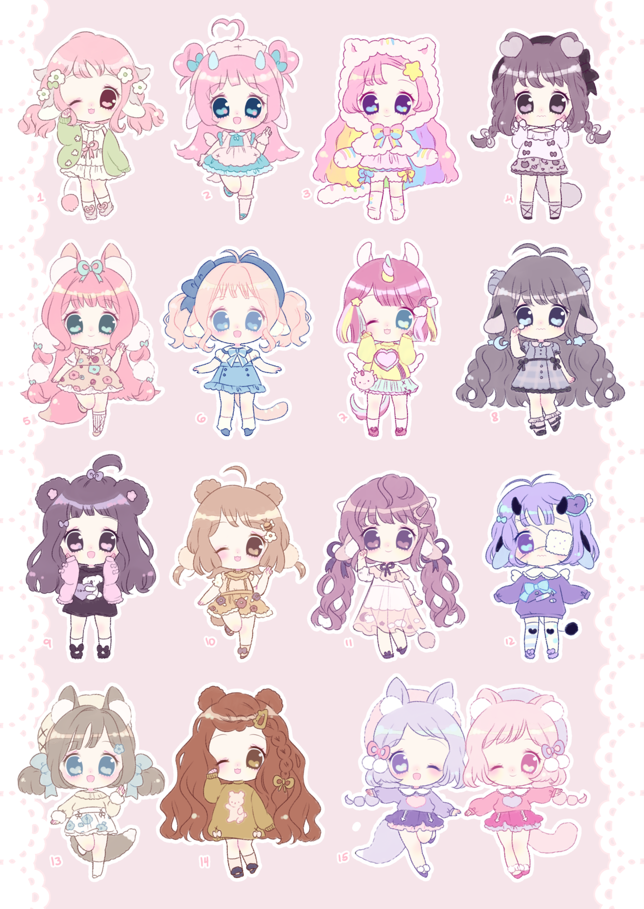 chibi mega batch!! Concept art characters, Cute drawings