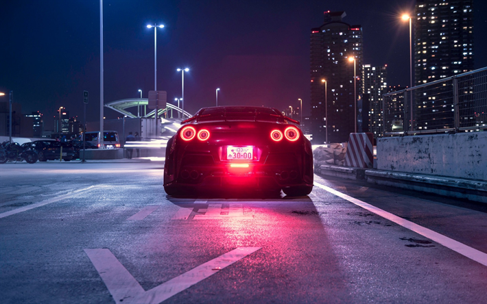 Download Wallpapers Nissan Gt R R35 Rear View Night