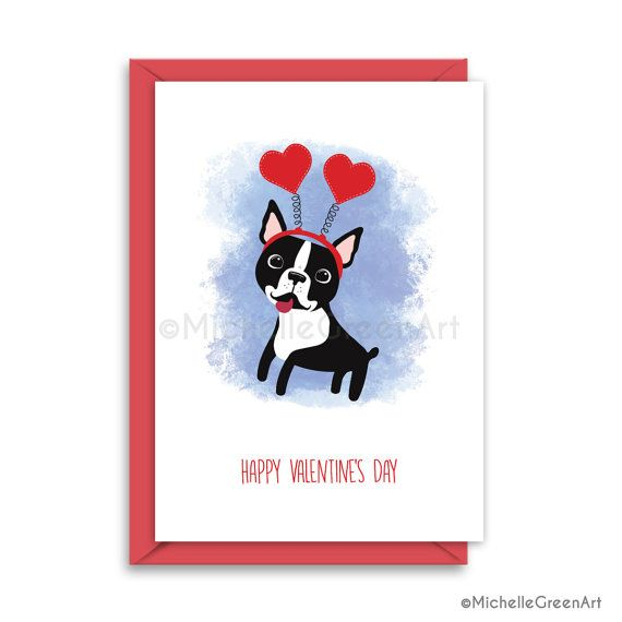 Boston Terrier Valentines Day Card French Bulldog Valentines Etsy Dog Valentines Puppy Valentines Boston Terrier