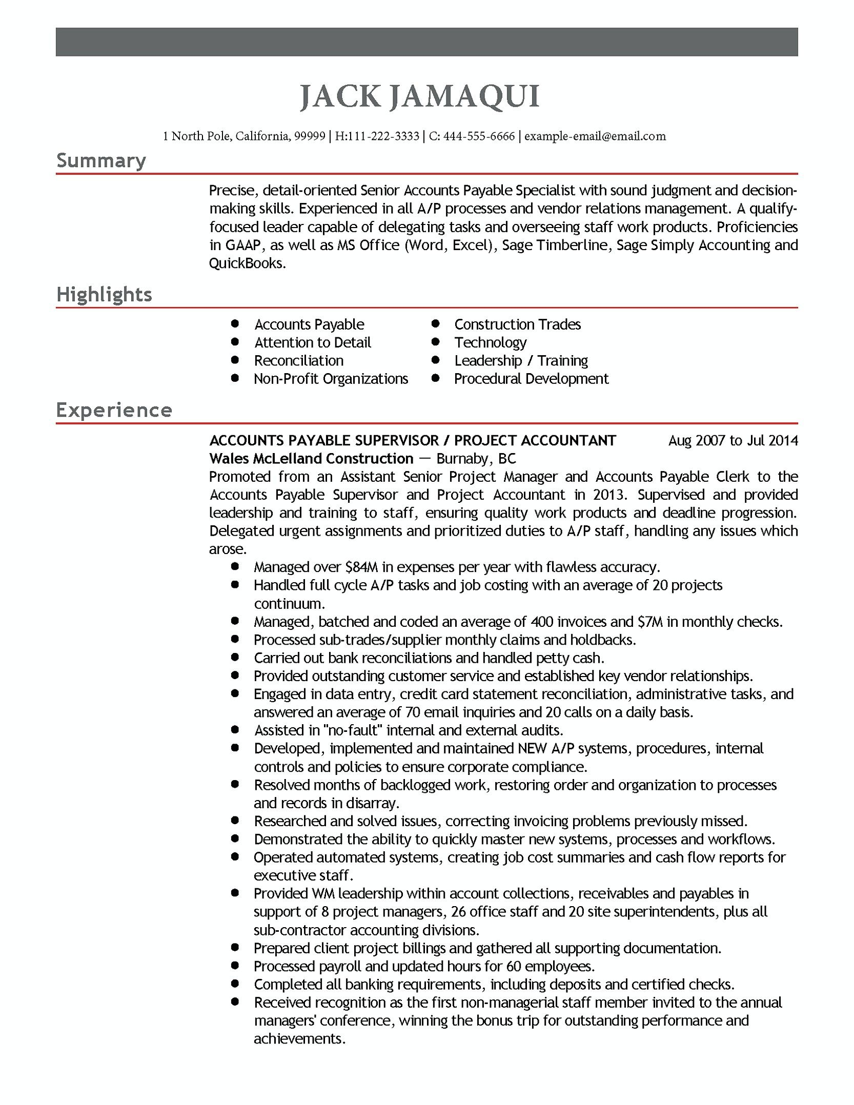 Resume Format For Accounts Manager Accounts Payable Manager Resume Accounts Payable Manager