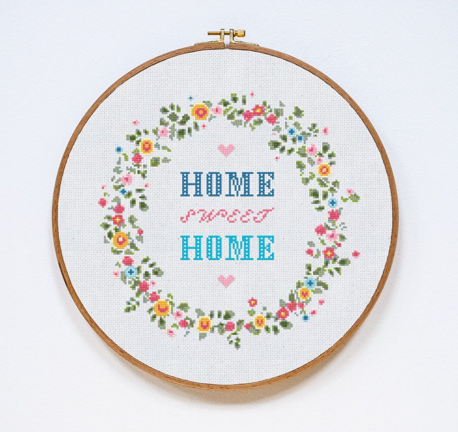 Vintage Needle Point Home Sweet Home Sign in Red Frame Colorful Welcome Sign