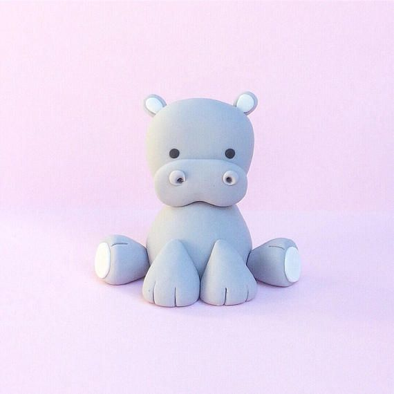 Baby Hippo fondant cake topper! Baby Shower cake topper :) #babyhippo