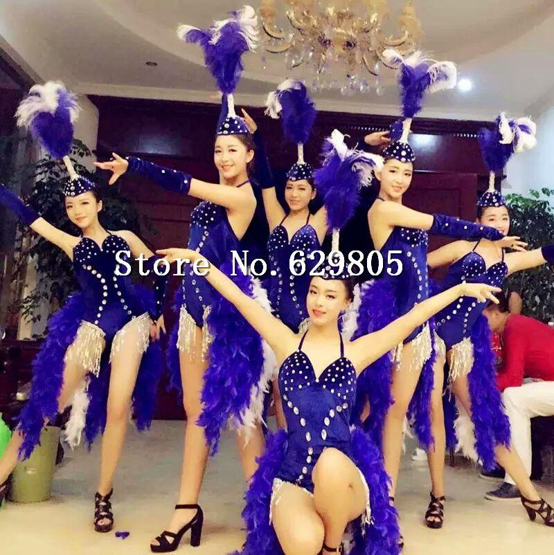 Estilo de la moda Baile de Apertura Pedrería Bodysuit Pluma Tocado ...