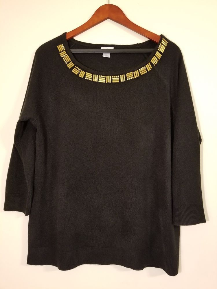 798cad610a5 Jaclyn Smith Collection Black Sweater Gold Beading