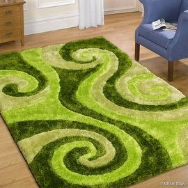 Allstar Green Shaggy Area Rug with 3D Lime Green Spiral Design ...