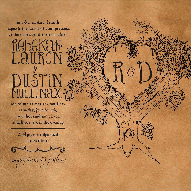 Rustic Tree Wedding Invitation & RSVP (Digital File, Print Anywhere). Via StepApartDesigns85 on Etsy.