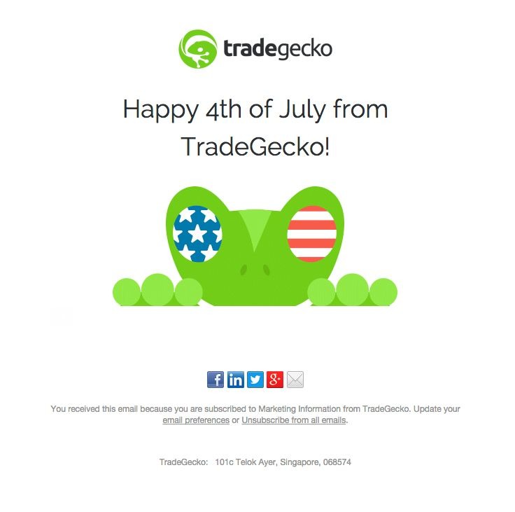tradegecko sent this email with the subject line Wishing you a - appreciation email