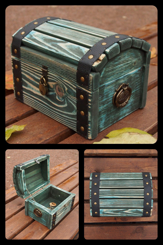 Medium Wooden Storage Chest Green Wood Storage Box Treasure Etsy Wood Storage Box Chests Diy Wooden Storage
