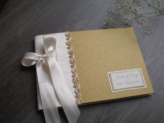 Bodas de oro y marfil elegante libro de visitas libro de visitas personalizado…