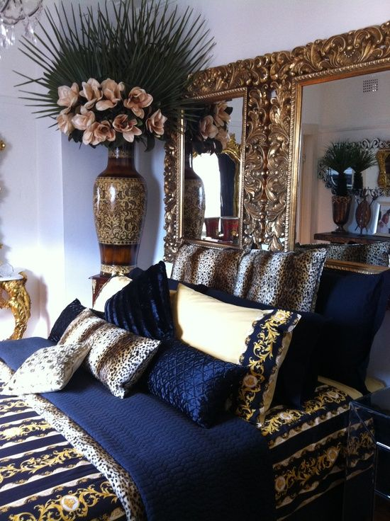 Navy blue, gold, white bedroom | Blue, gold bedroom, Gold ...