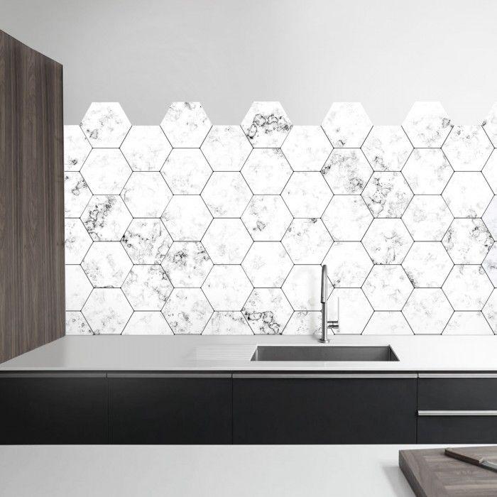Azulejos hexagonales de m rmol blanco kitchens - Azulejos hexagonales ...