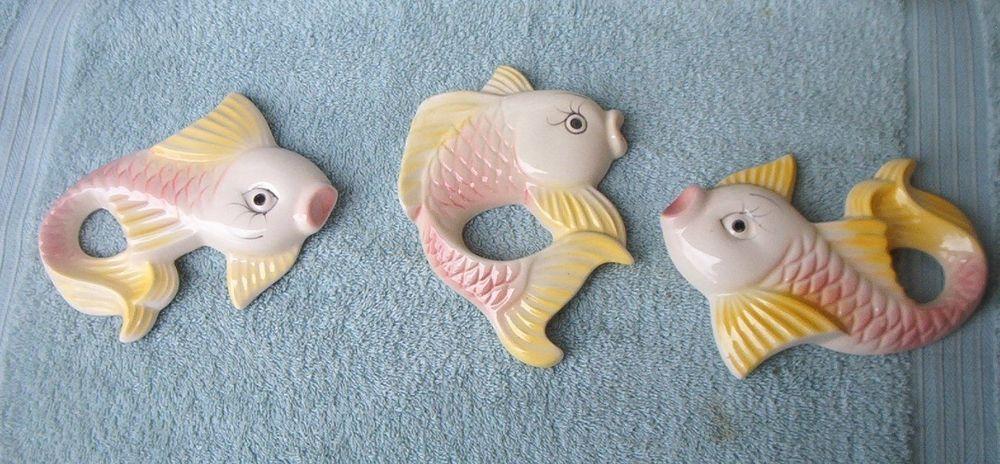 VINTAGE CHALKWARE FISH WALL PLAQUES SET BATHROOM DECOR Wall Plaque